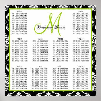 Verde del damasco de la carta del asiento del boda impresiones