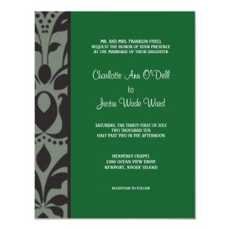 verde del damasco; el casarse invitación 10,8 x 13,9 cm