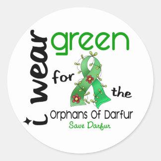 VERDE del DESGASTE de Darfur I PARA los HUÉRFANOS Pegatinas Redondas