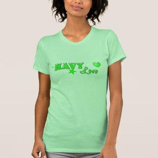 Verde del diseño del amor de la marina de guerra playeras