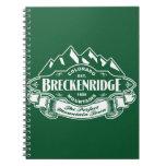 Verde del emblema de la montaña de Breckenridge Libro De Apuntes