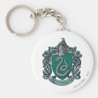 Verde del escudo de Slytherin Llavero Redondo Tipo Pin