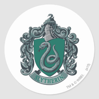 Verde del escudo de Slytherin Pegatina Redonda