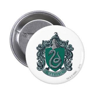 Verde del escudo de Slytherin Pin Redondo De 2 Pulgadas