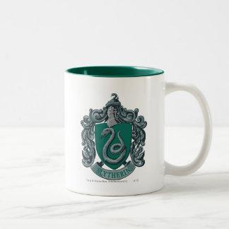 Verde del escudo de Slytherin Taza De Dos Tonos