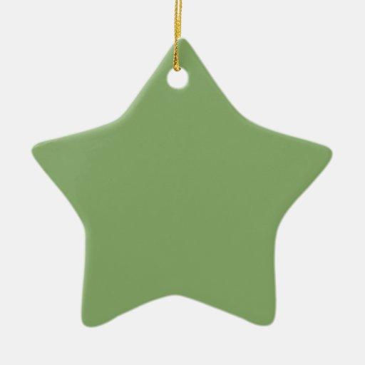 Verde del espárrago adorno navideño de cerámica en forma de estrella
