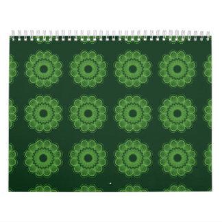 Verde del estampado de plores calendario de pared