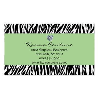 verde del estampado de zebra con el diamante en tarjetas de visita