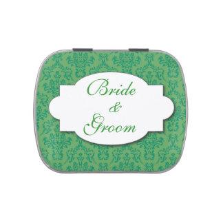 Verde del favor de banquete de boda frascos de dulces