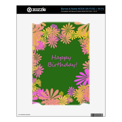 Verde del flower power de Rretro del feliz cumplea NOOK Skins