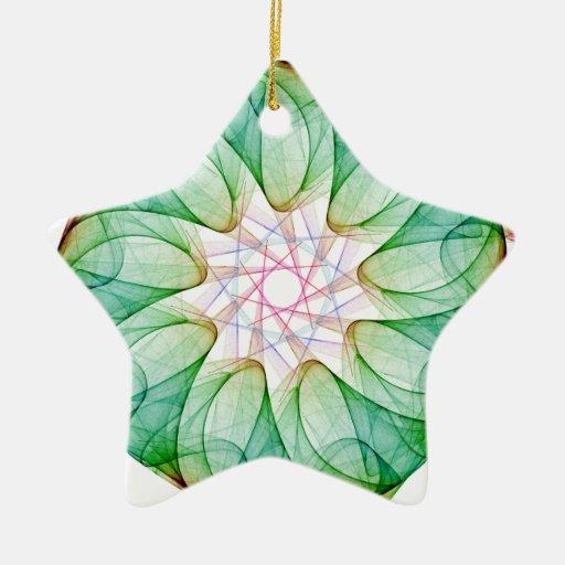 Verde del fractal adorno navideño de cerámica en forma de estrella