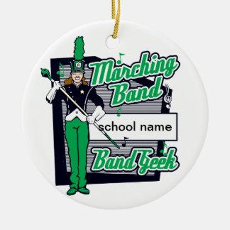Verde del friki de la banda adorno navideño redondo de cerámica