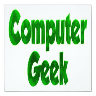 """Verde del friki del ordenador invitación 5.25"""" x 5.25"""""""