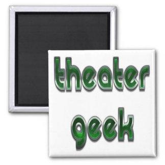 Verde del friki del teatro imán cuadrado