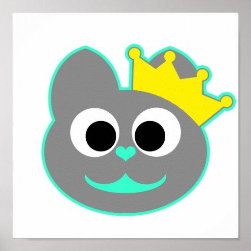 Verde del gatito de la reina - gris poster