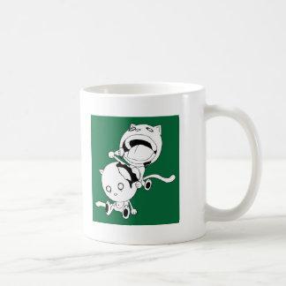 Verde del gato del caníbal taza