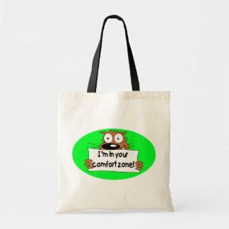 Verde del gato estoy en su zona de comodidad bolsa