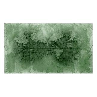 Verde del globo del mapa del mundo de la antigüeda plantilla de tarjeta de negocio