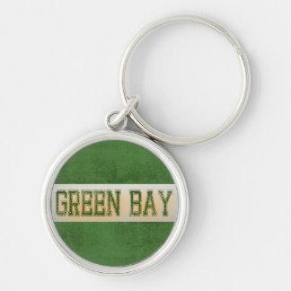 Verde del Green Bay y Grunge del oro Llavero Redondo Plateado
