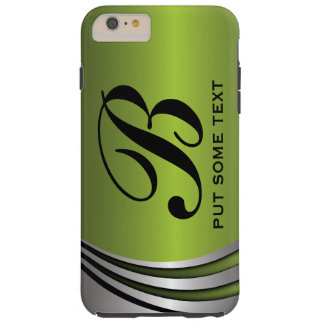 Verde del gris de plata del metal, personalizado funda para iPhone 6 plus tough