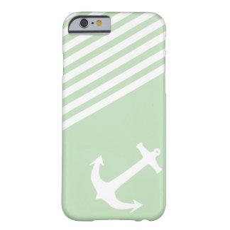 Verde del helado de la menta náutico funda de iPhone 6 barely there