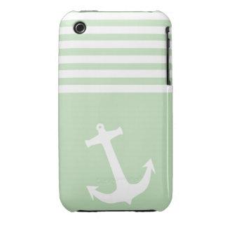 Verde del helado de la menta náutico iPhone 3 Case-Mate fundas