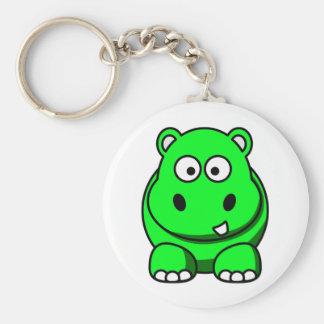 Verde del hipopótamo llavero redondo tipo pin