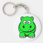 Verde del hipopótamo llaveros personalizados