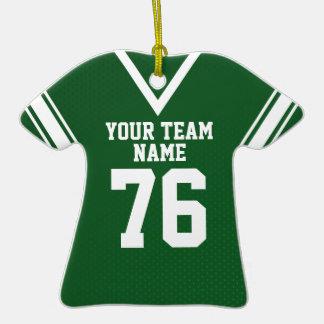 Verde del jersey del fútbol de la escuela adorno de cerámica en forma de camiseta