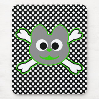 Verde del Kat del cráneo - gris Mouse Pad