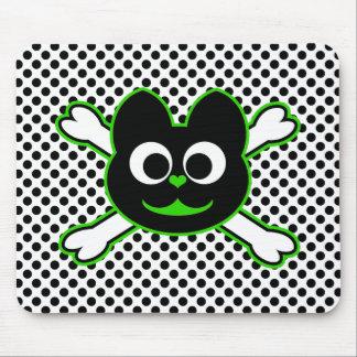 Verde del Kat del cráneo Tapete De Ratón