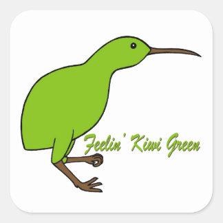 Verde del kiwi de Feelin Pegatina Cuadrada