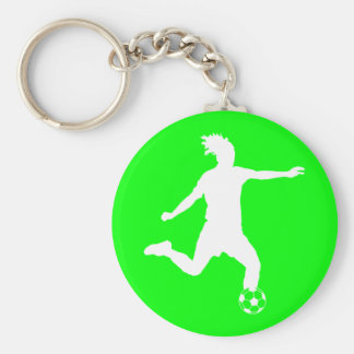 Verde del llavero de la silueta del fútbol