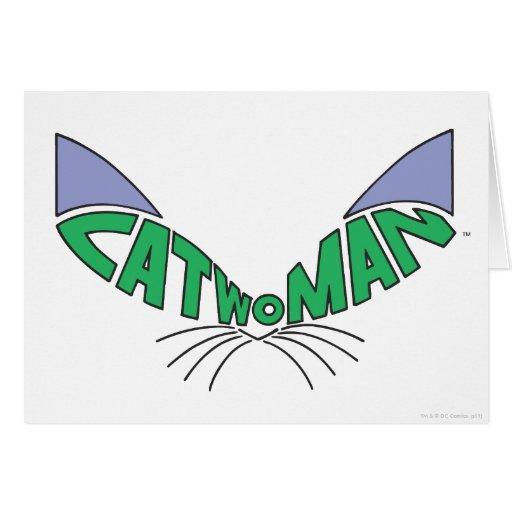 Verde del logotipo del Catwoman Tarjeta De Felicitación