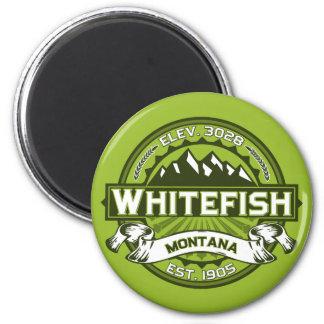 Verde del logotipo del pescado blanco imán redondo 5 cm