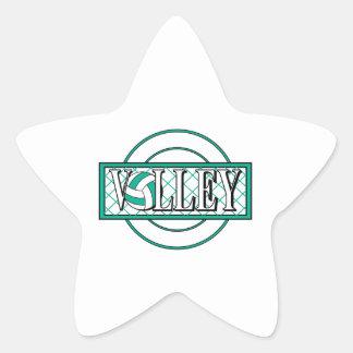 verde del logotipo del voleo calcomanías forma de estrella personalizadas