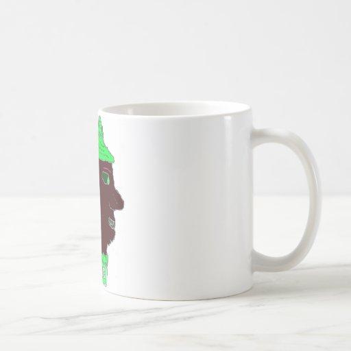 Verde del logotipo principal espartano y negro de taza de café