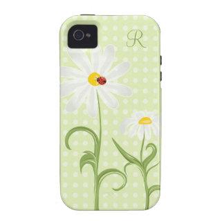 Verde del lunar de la margarita blanca y de señora iPhone 4/4S carcasas