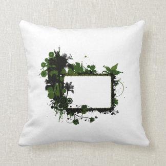Verde del marco de la palmera y black.png almohada
