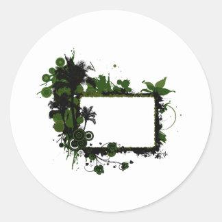 Verde del marco de la palmera y black.png pegatina redonda