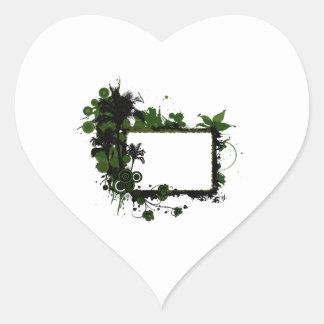 Verde del marco de la palmera y black.png pegatina en forma de corazón