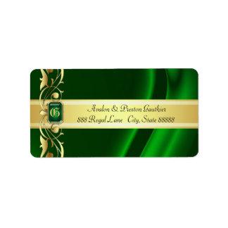 Verde del marqués y etiquetas de dirección de seda