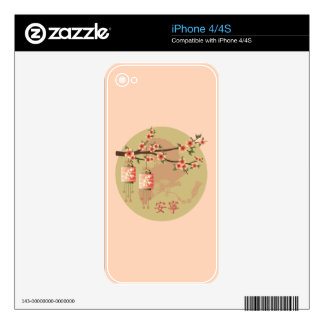 Verde del melocotón de las linternas del flor calcomanías para iPhone 4S