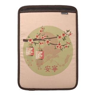 Verde del melocotón de las linternas del flor funda para macbook air