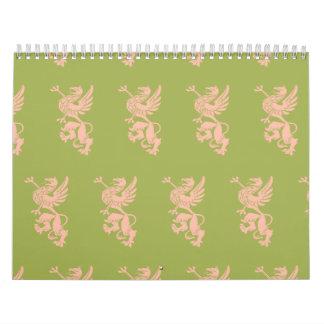 Verde del melocotón del grifo calendarios