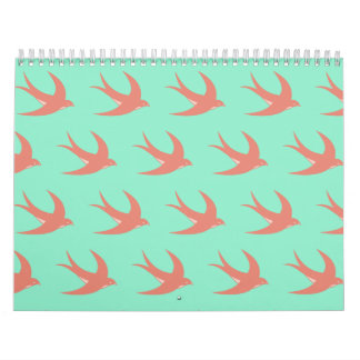Verde del melocotón del modelo del pájaro de vuelo calendarios de pared