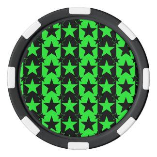 Verde del modelo de barras y estrellas 2 fichas de póquer