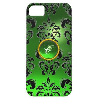 Verde del MONOGRAMA de la GEMA del DAMASCO iPhone 5 Fundas