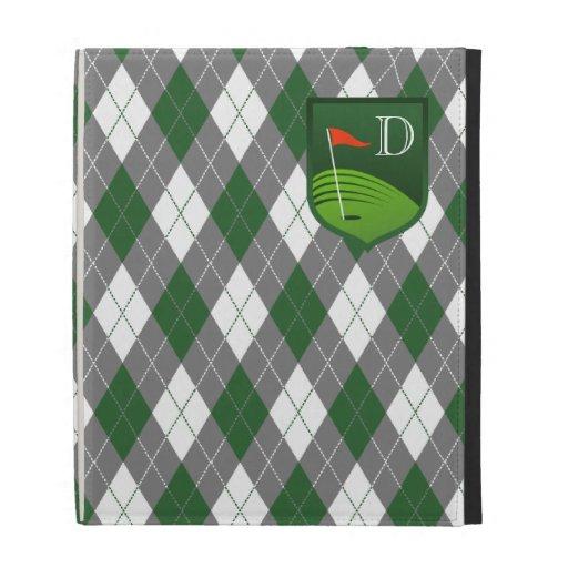 Verde del monograma, gris, caja blanca del iPad de