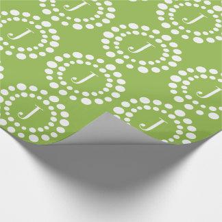 Verde del monograma papel de regalo